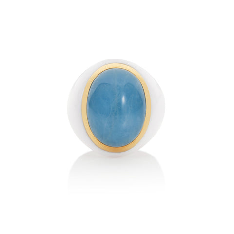 Summer Carnival Milky Aquamarine & White Agate Ring