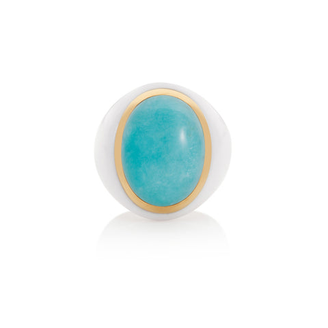 Summer Carnival Amazonite & White Agate Ring