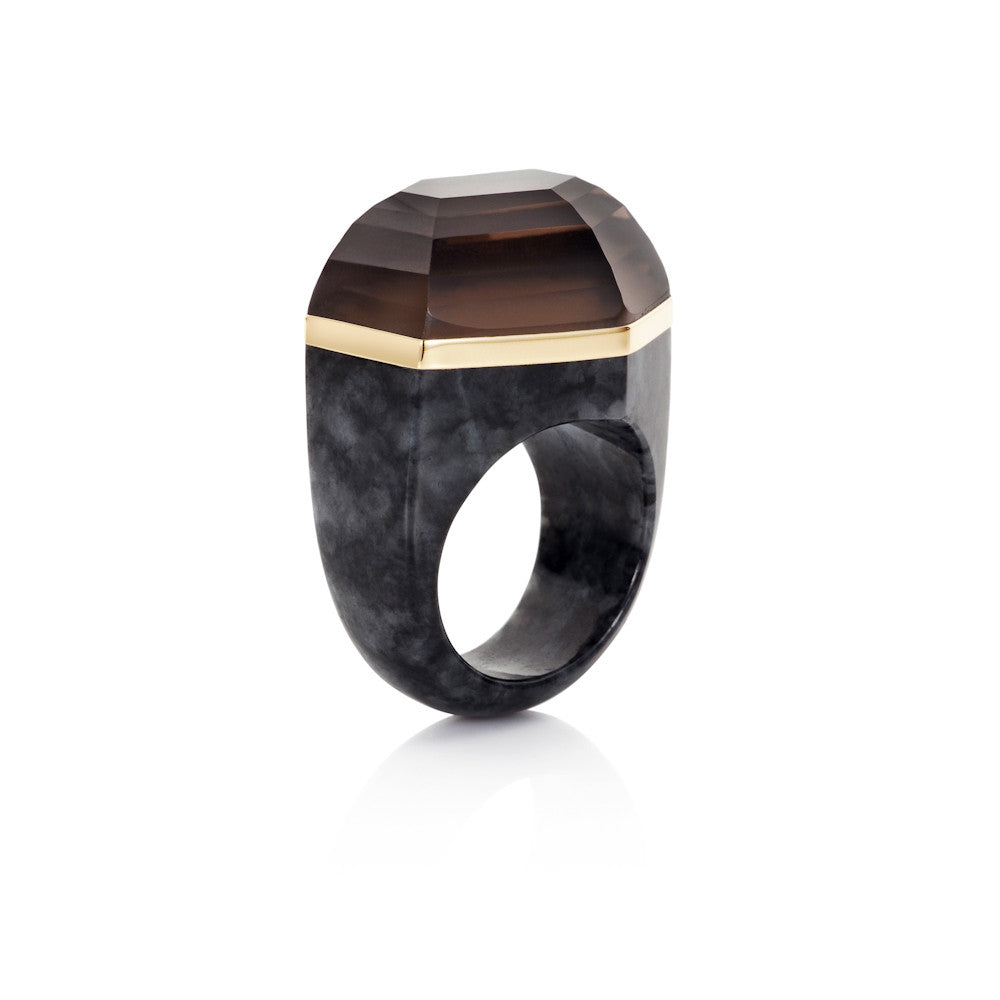Winter Carnival Smokey Quartz & Charcoal Jade Ring