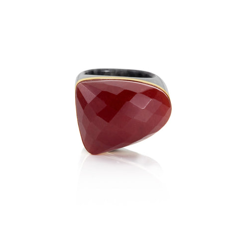 Winter Carnival Red & Charcoal Jade Ring