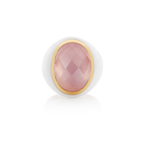 Summer Carnival Rose Quartz & White Agate Oval Ring