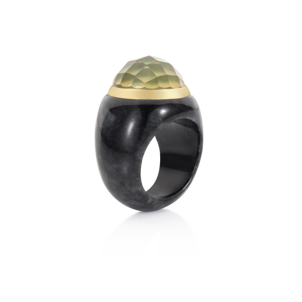 Winter Carnival Green Gold Quartz & Charcoal Jade Ring