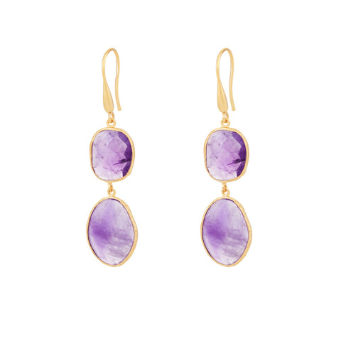 Indian Summer Amethyst Double Stone Drop Earrings