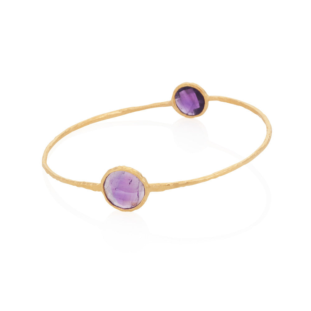 Indian Summer Round Amethyst Two Stone Bangle
