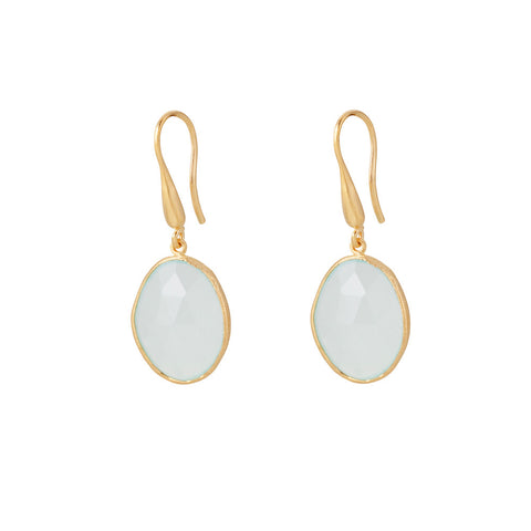 Indian Summer Aqua Chalcedony Drop Earrings