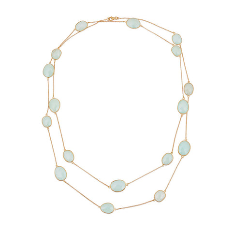 Indian Summer Aqua Chalcedony Multi Stone Necklace