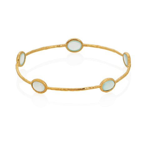 Indian Summer Aqua Chalcedony Multi Stone Bangle
