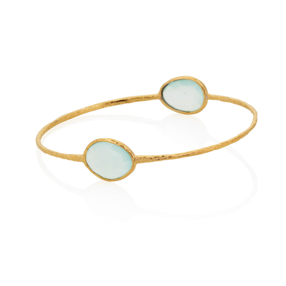 Indian Summer Double Oval Aqua Chalcedony Bangle
