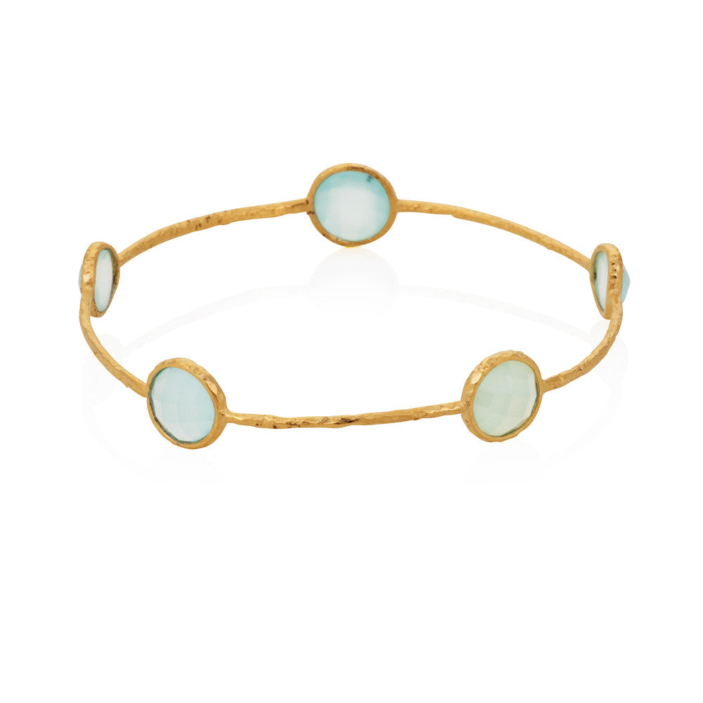 Indian Summer Aqua Chalcedony Gemstone Bangle