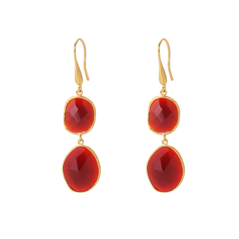 Indian Summer Red Agate Double Stone Drop Earrings