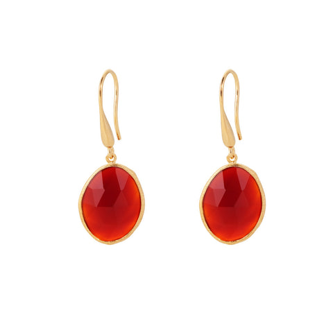 Indian Summer Red Agate Drop Earrings
