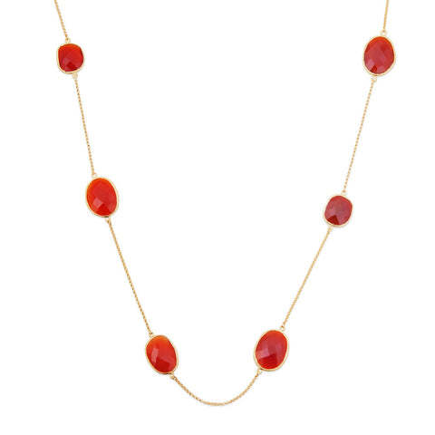 Indian Summer Red Agate Multistone Necklace