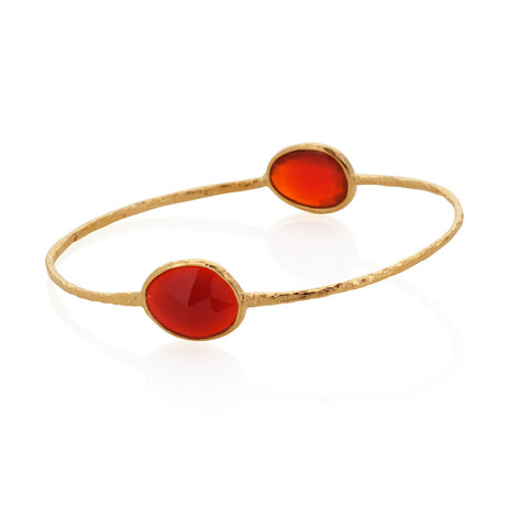 Indian Summer Double Oval Red Agate Bangle