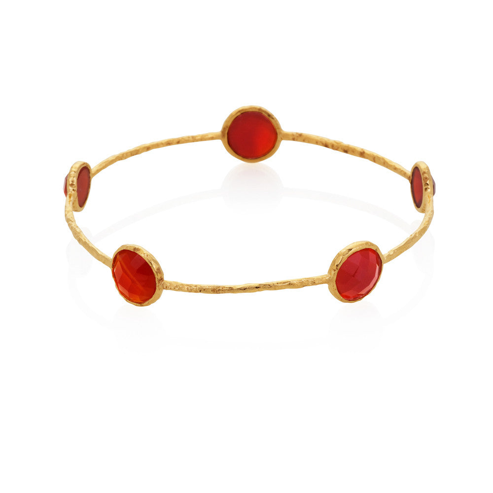 Indian Summer Red Agate Gemstone Round Bangle
