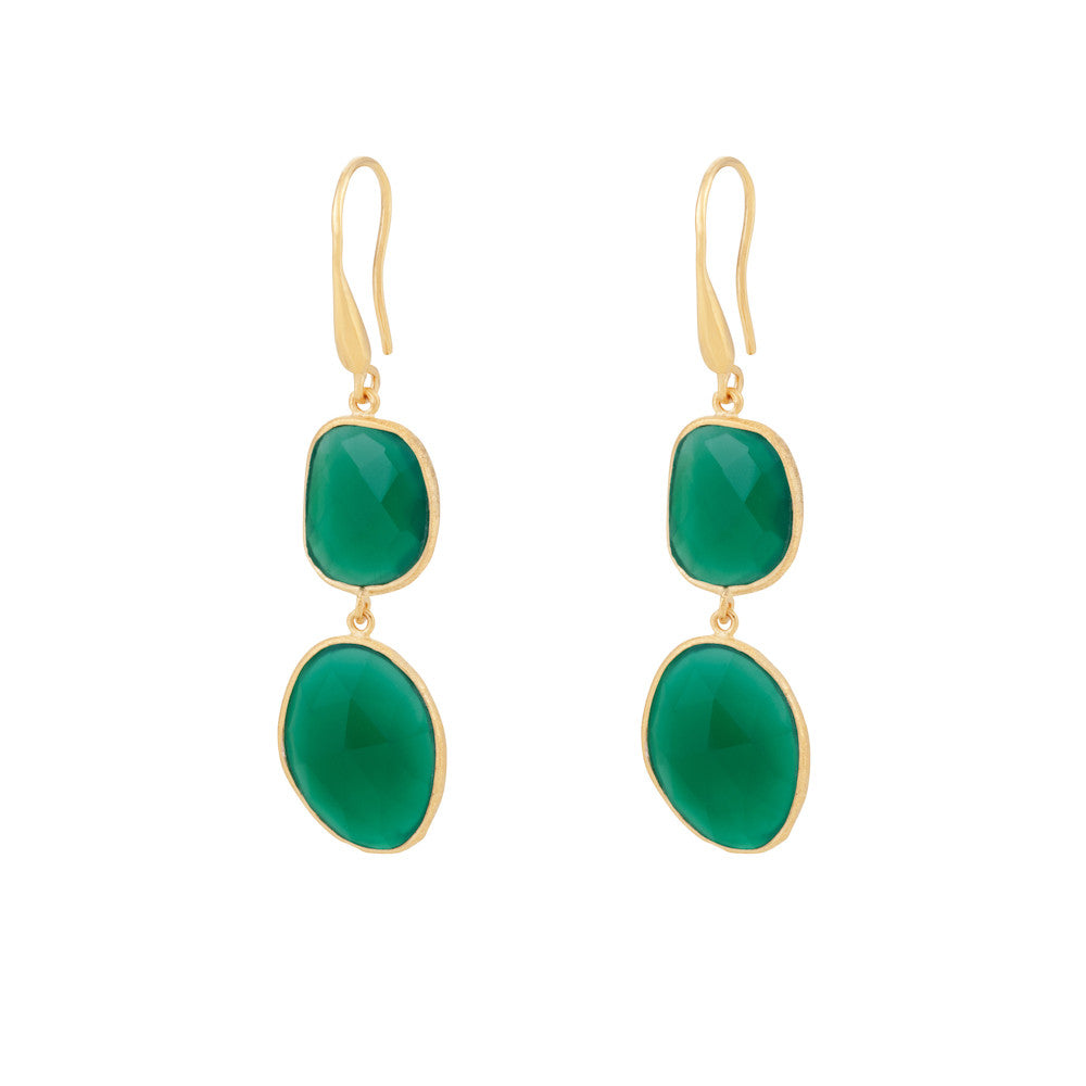 Indian Summer Green Agate Double Stone Drop Earrings