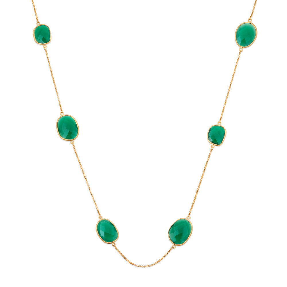 Indian Summer Green Agate Multi Stone Necklace