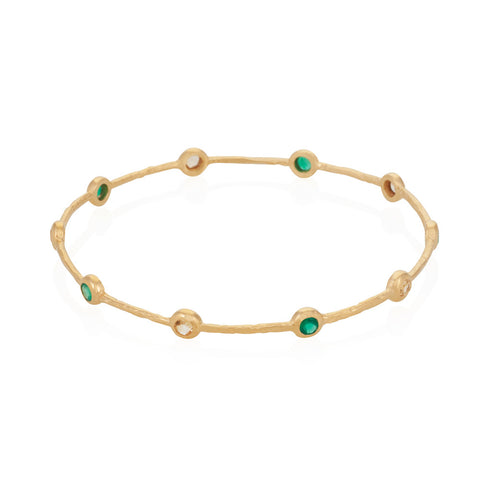 Indian Summer Green Agate & Citrine Bangle