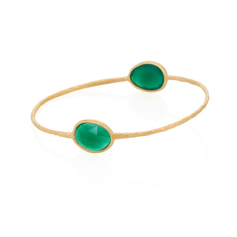 Indian Summer Double Oval Green Agate Bangle
