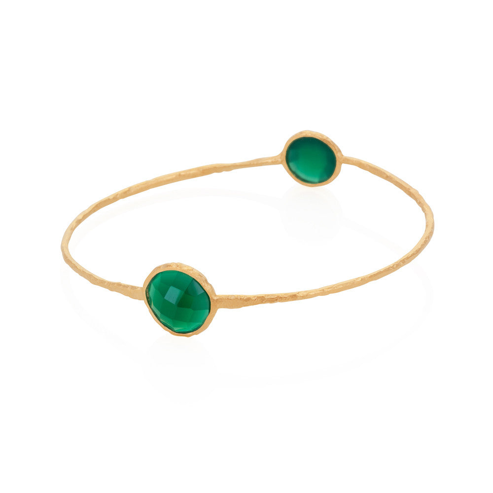 Indian Summer Round Green Agate Two Stone Bangle