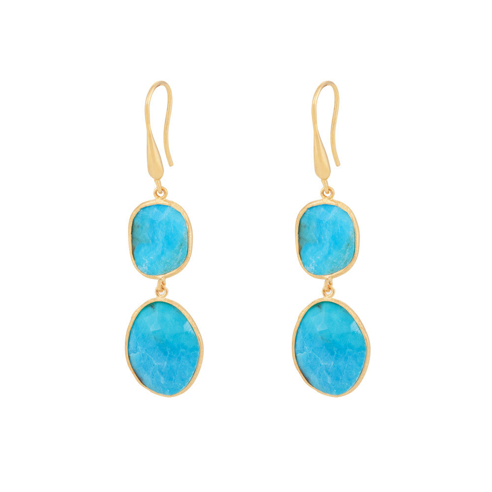Indian Summer Turquoise Double Stone Drop Earrings