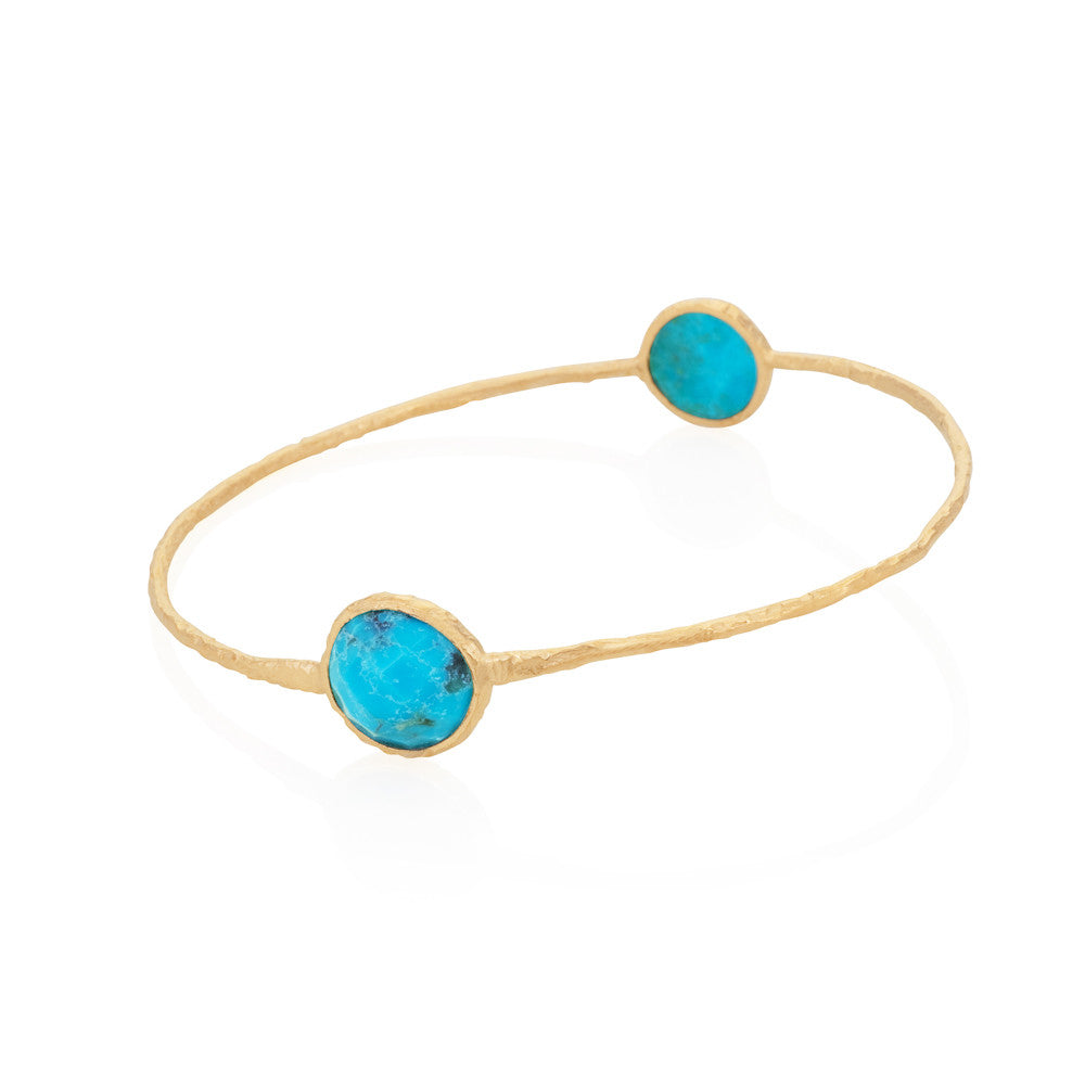 Indian Summer Round Turquoise Two Stone Bangle