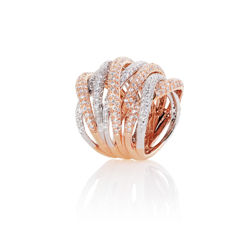 Under The Stars Rose & White Gold Diamond Ribbon Ring