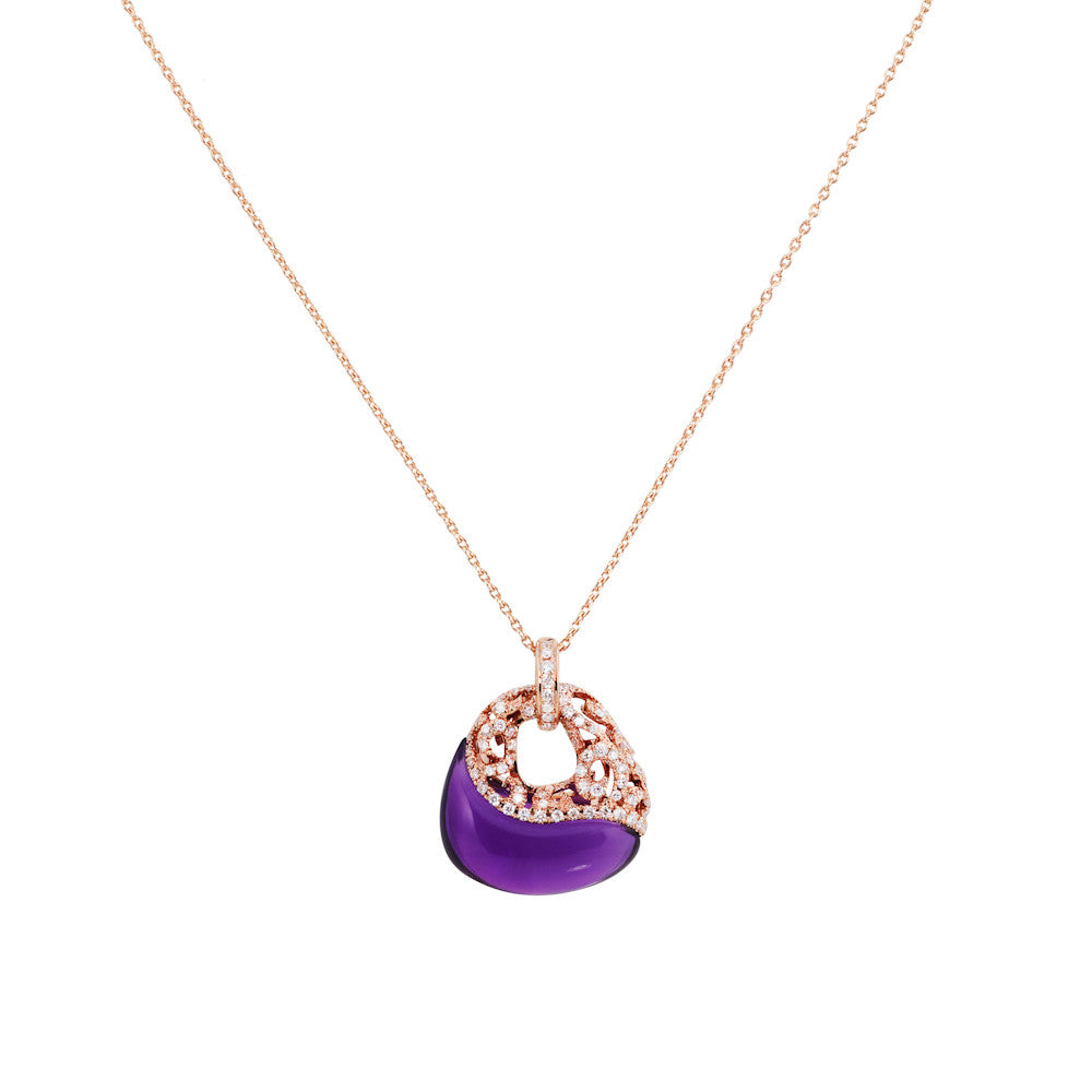 Under The Stars Fancy Amethyst & Diamond Pendant