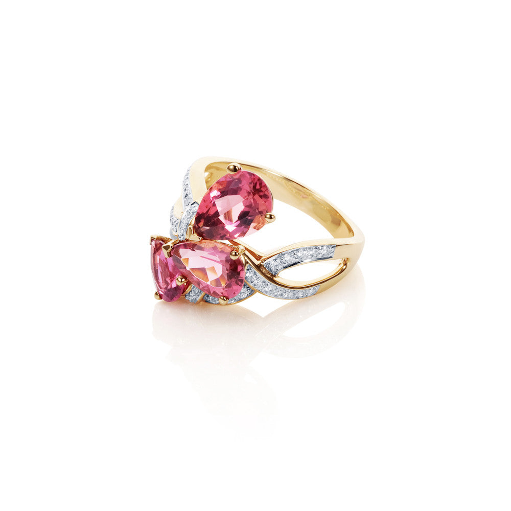 Pink Clouds Diamond Pink Tourmaline Ring