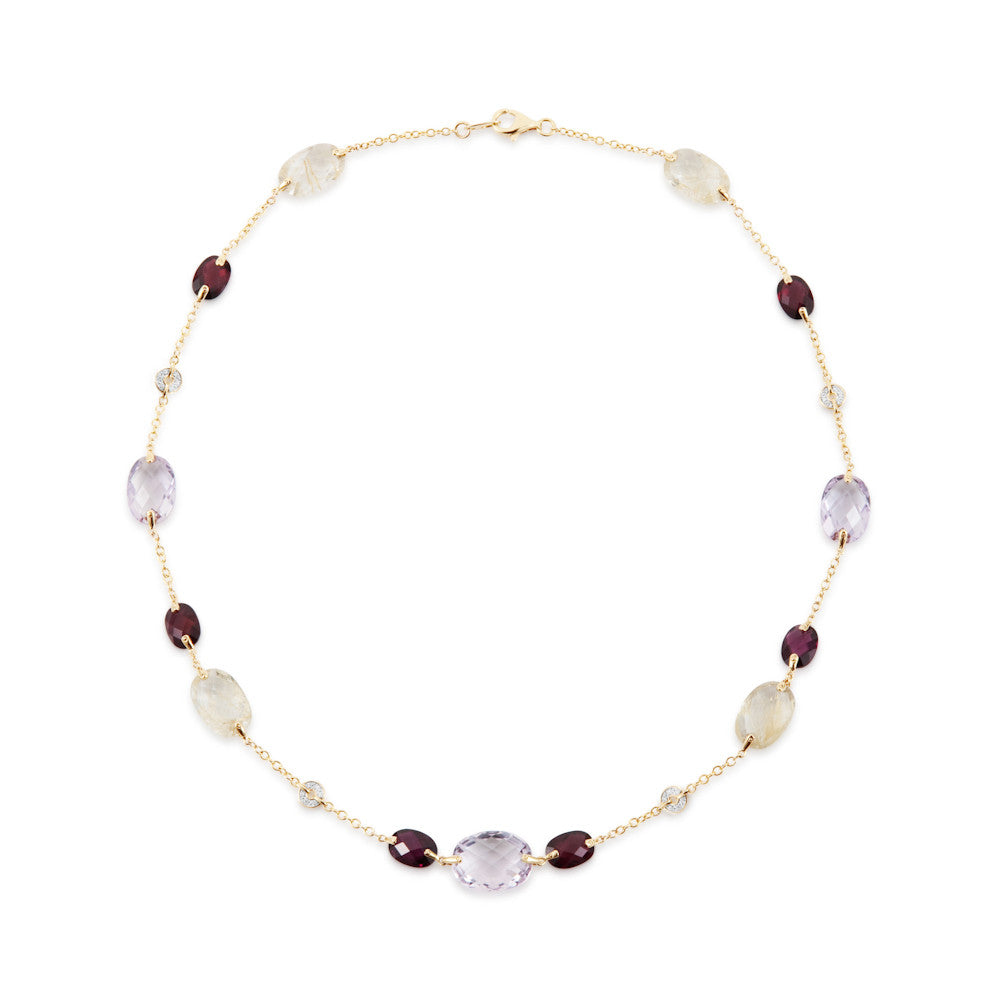 Summer Dusk Rose Amethyst & Multi Gem Necklace