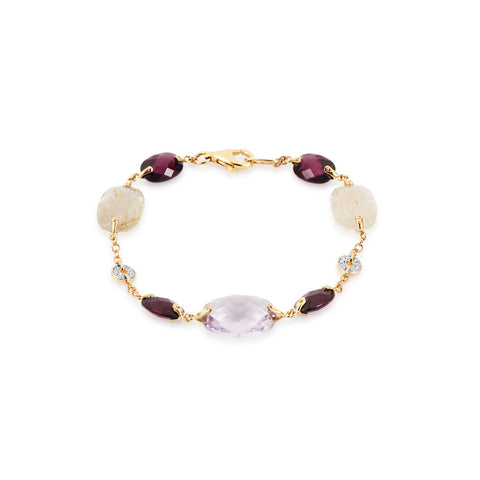 Summer Dusk Rose Amethyst & Multi Gem Bracelet