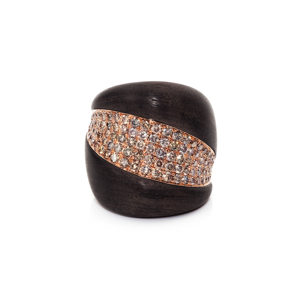 Edge Of Twilight Rose Gold Ebony & Cognac Diamond Ring