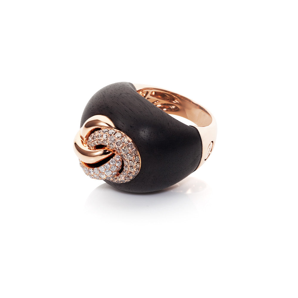 Edge Of Twilight Cognac & White Diamond Ebony Ring