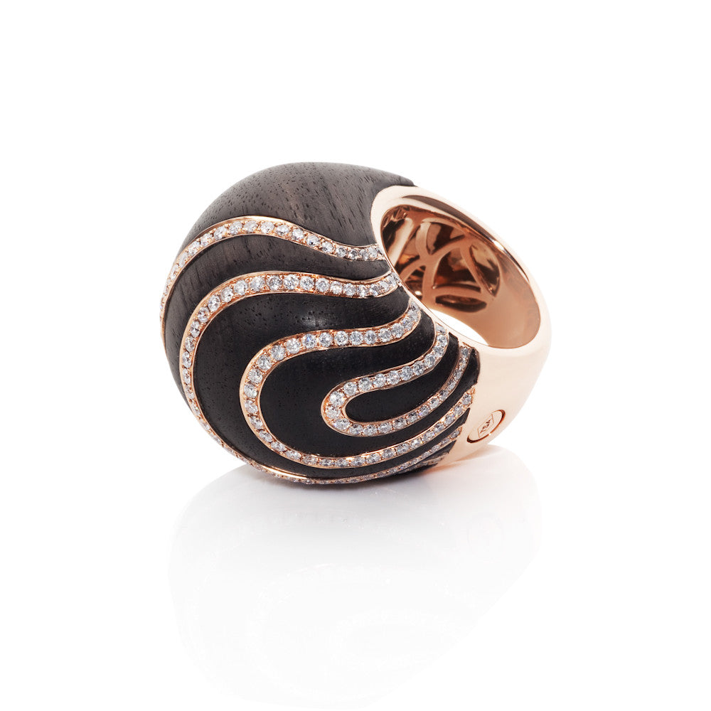 Edge Of Twilight Diamond & Ebony Swirl Ring