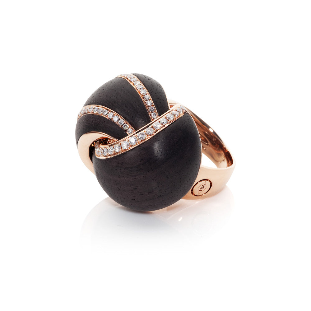 Edge Of Twilight Diamond & Ebony Knot Ring