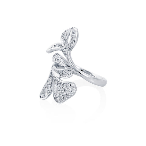 Dew Fallen 18Ct White Gold Floral Diamond Ring