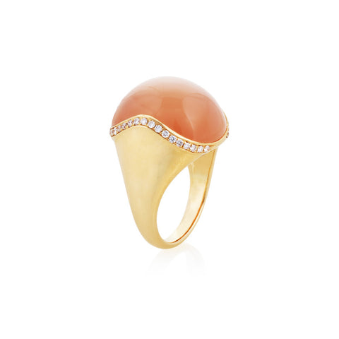 Under The Stars Orange Moonstone & Diamond Ring