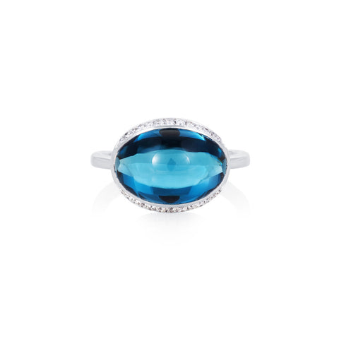 Firefly Evenings London Blue Topaz & Diamond Ring
