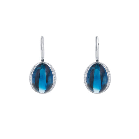 Firefly Evenings London Blue Topaz & Diamond Earrings