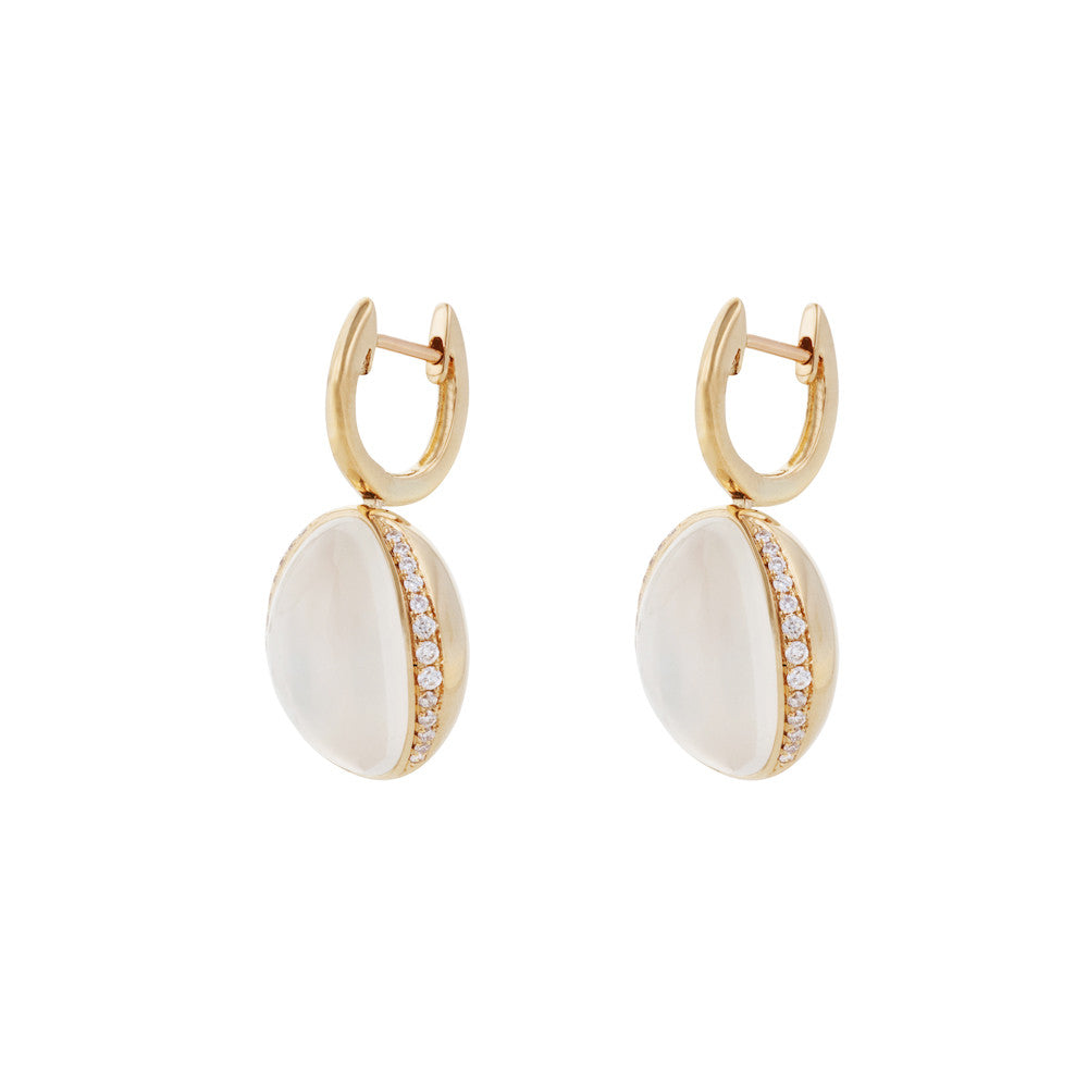 Firefly Evenings White Moonstone & Diamond Earrings