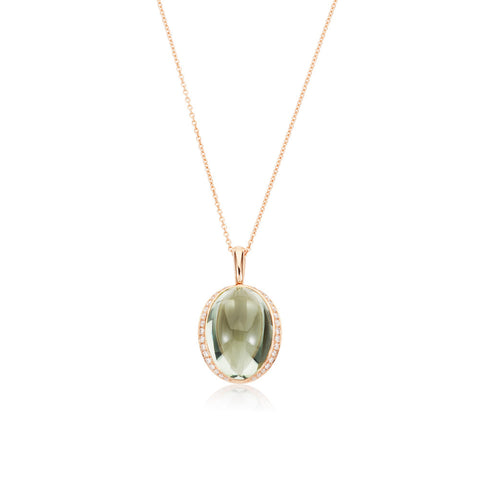 Firefly Evenings Prasiolite & Diamond Drop Pendant