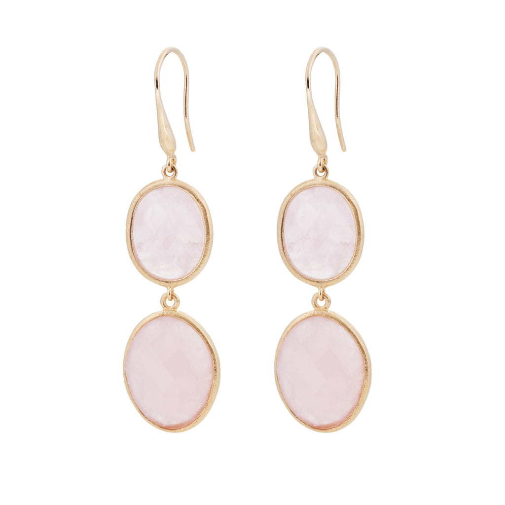 Indian Summer Rose Quartz Double Stone Drop Earrings