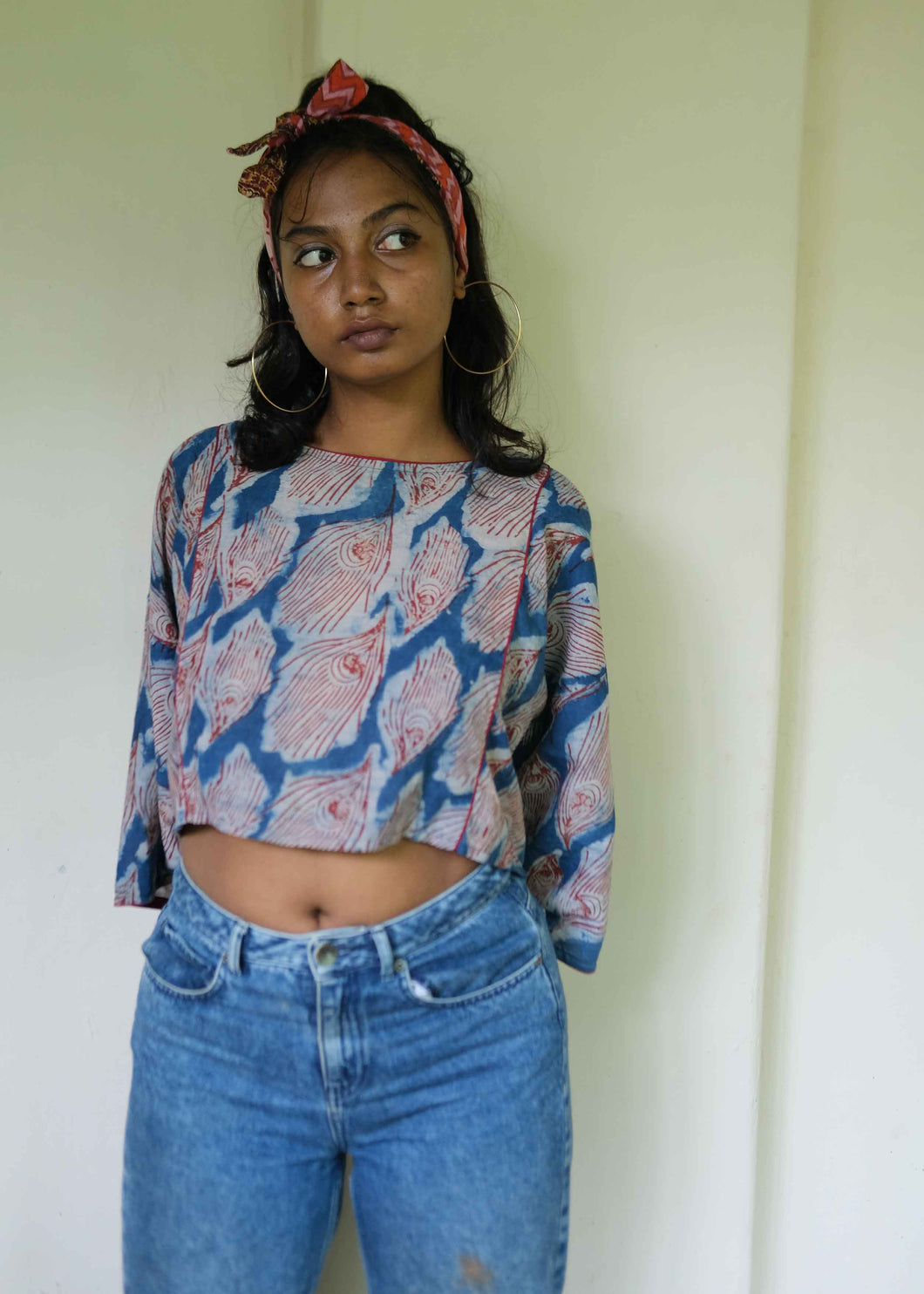 Wide Crop Top Peacock