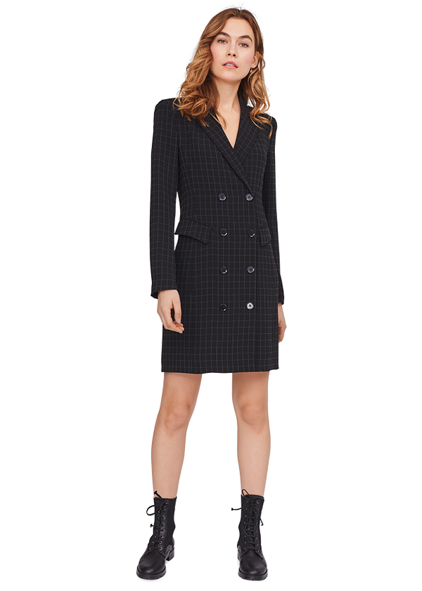 Blazer Dress with Mesh Check Pattern
