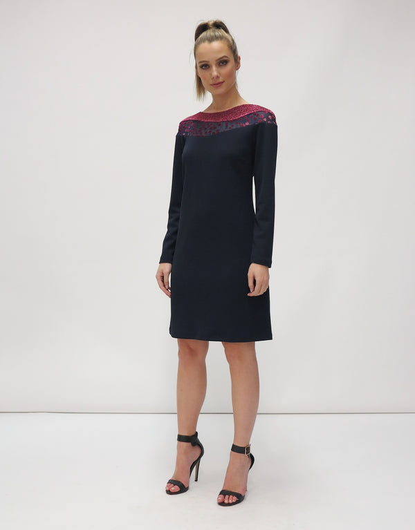 Navy Fitted Dress With Patterned Trim