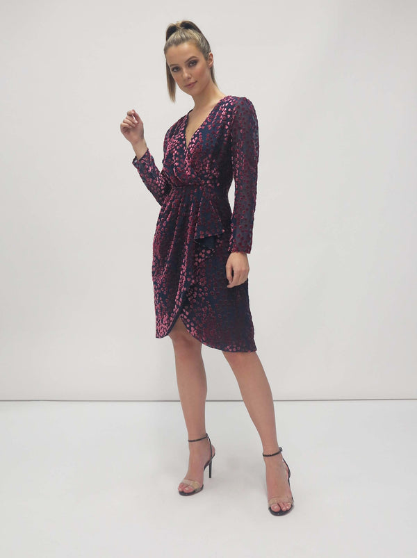 Velvet Wrap Effect Dress