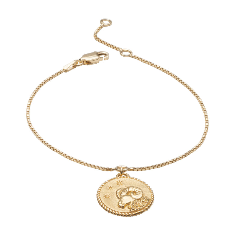 Zodiac Art Coin Gold Bracelet - Aries