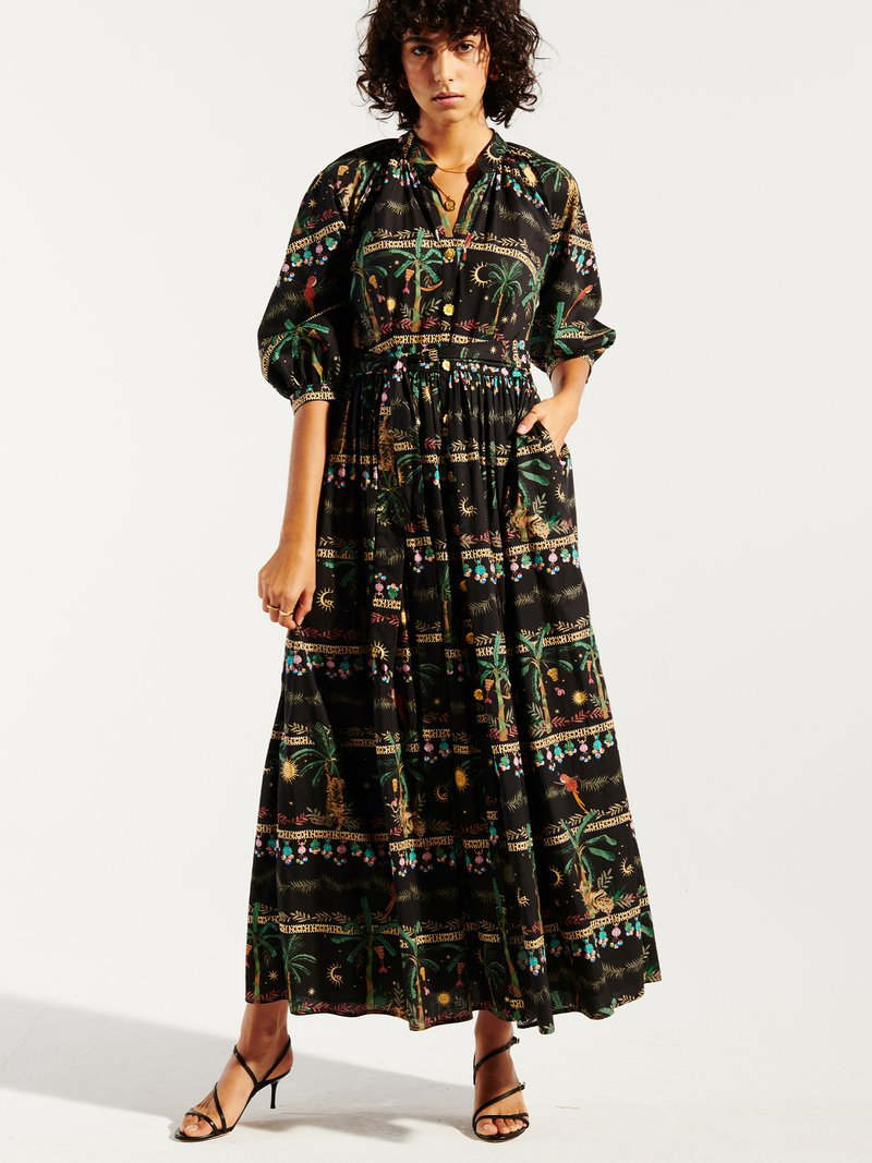 Midnight Safari Organic Cotton Midi Volume Shirt Dress