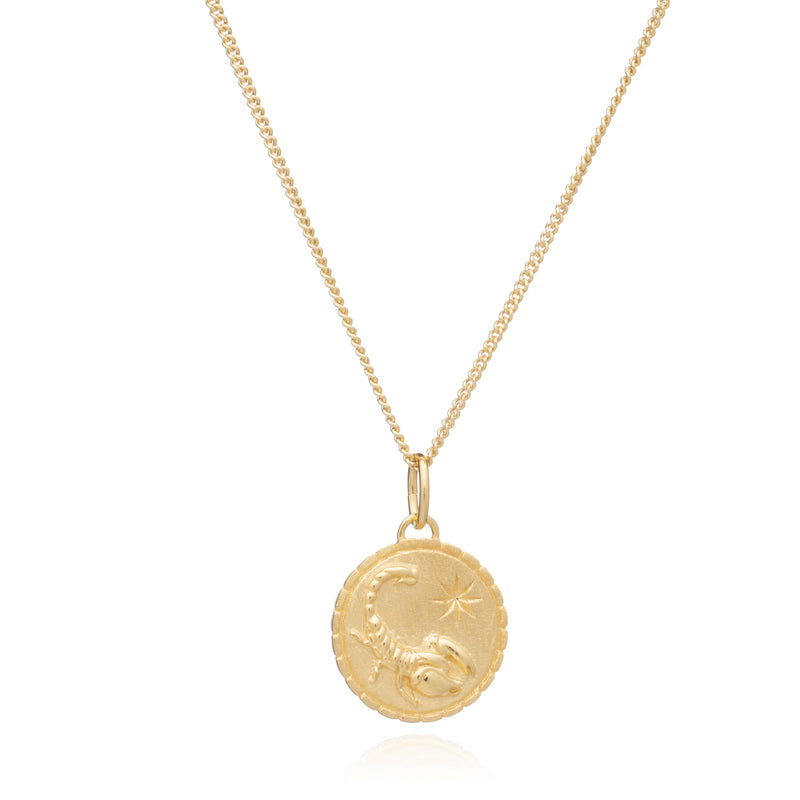 Zodiac Art Coin Gold Necklace - Scorpio