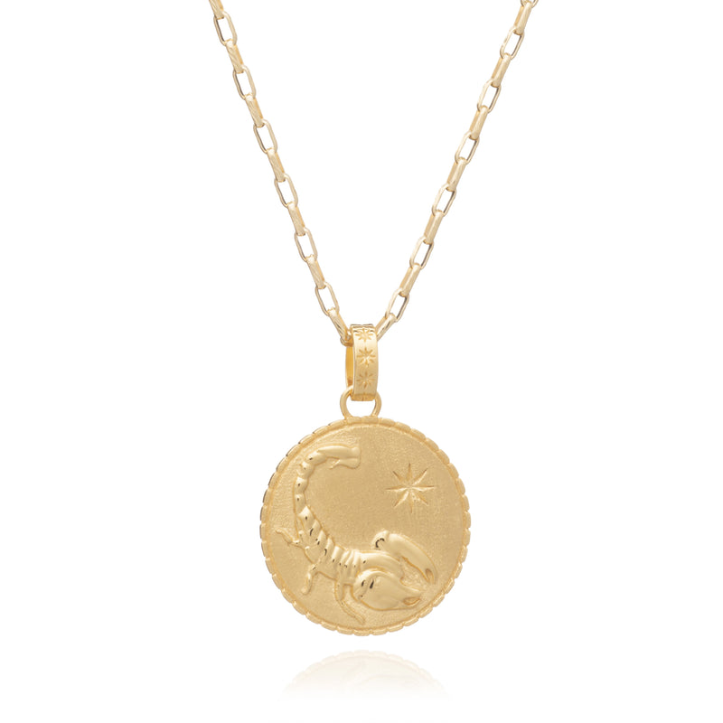 Statement Zodia Art Coin Long Gold Necklace - Scorpio