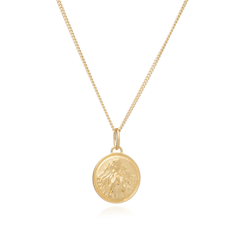 Zodiac Art Coin Gold Necklace - Virgo